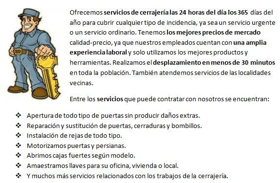 Servicios cerrajeros Solares 24h urgencias